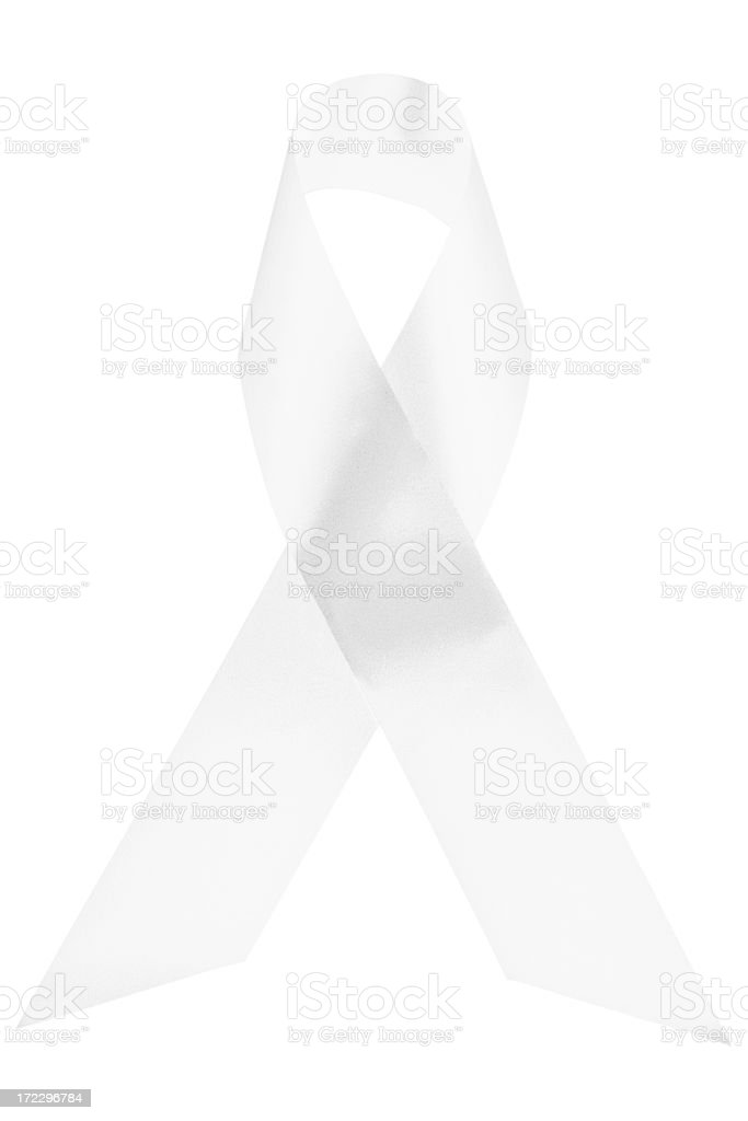 White awareness ribbon stock photo