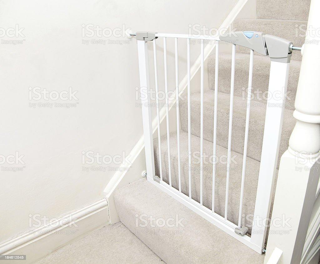 white baby gate stock photo