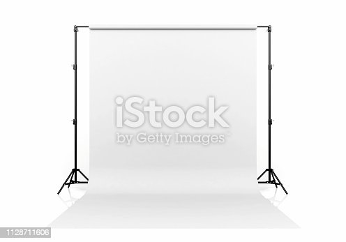 White backdrop isolated on white background, 3D Rendering