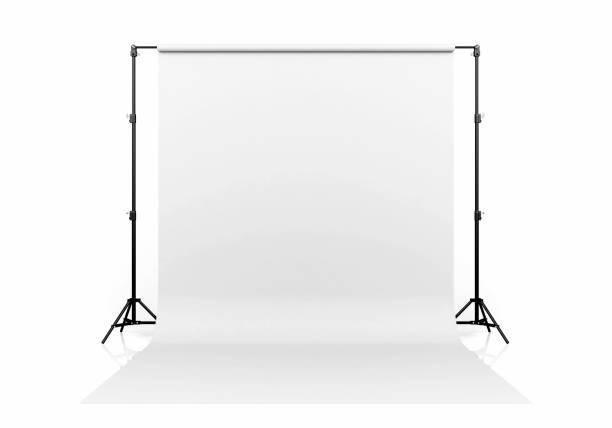 white backdrop isolated on white background, 3d rendering - scenario foto e immagini stock