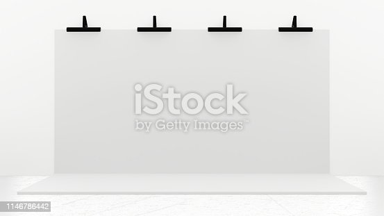 1089180420istockphoto White Backdrop Stage in Room 1146786442
