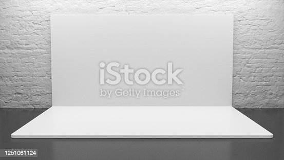 1089180420 istock photo White Backdrop Stage in Room 1251061124