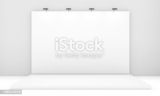 1089180420istockphoto White Backdrop Stage in Room with Brick Wall 1080345028