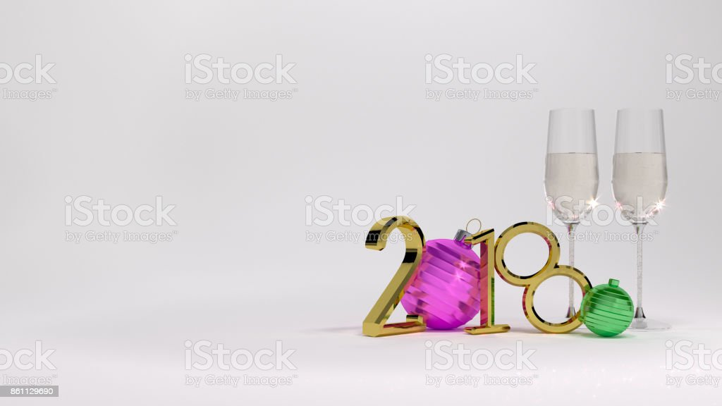 White background 2018 Champagne glass 3D illustrationgolden numbers and gold watch christmas ball stock photo