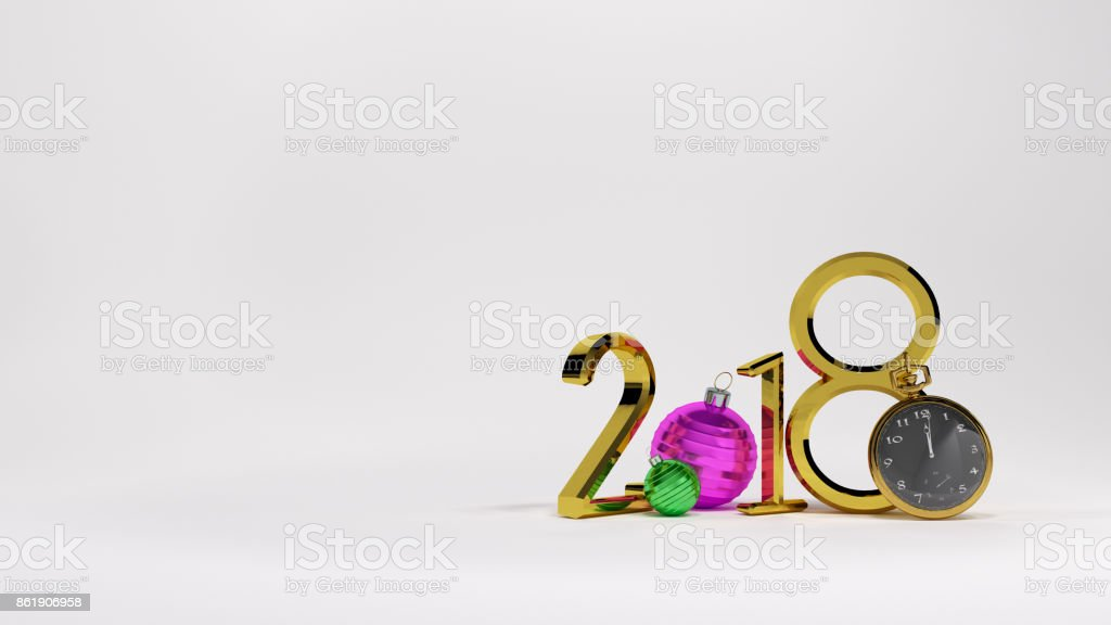 White background 2018golden numbers and golden clock stock photo