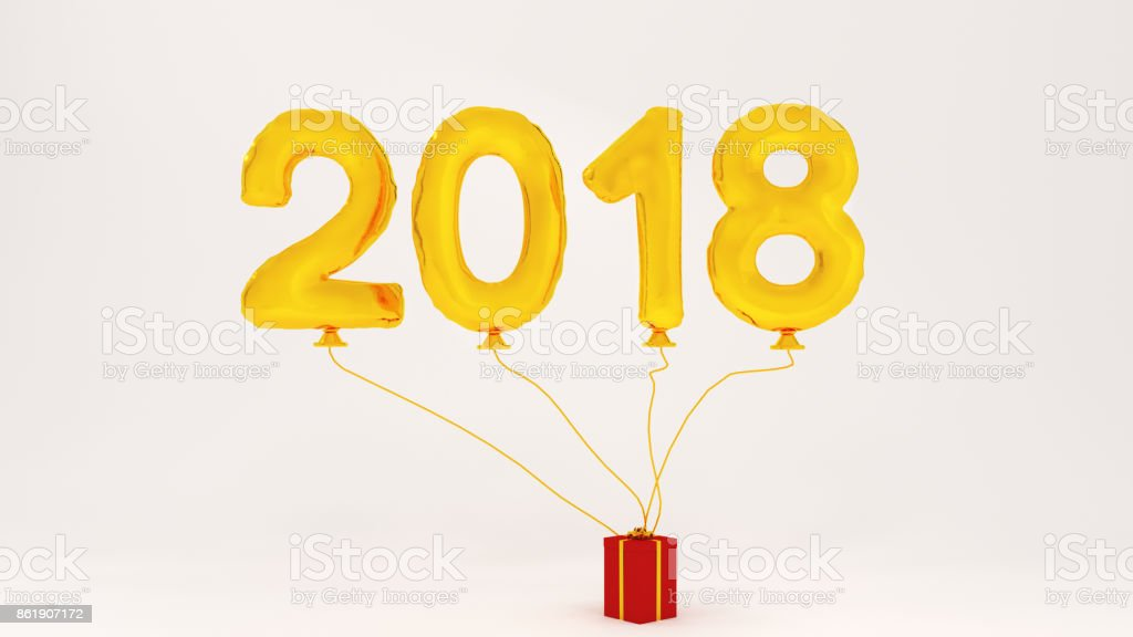 White background  balloon number 3D illustration 2018 gold color for party and gift box happy christmas stock photo