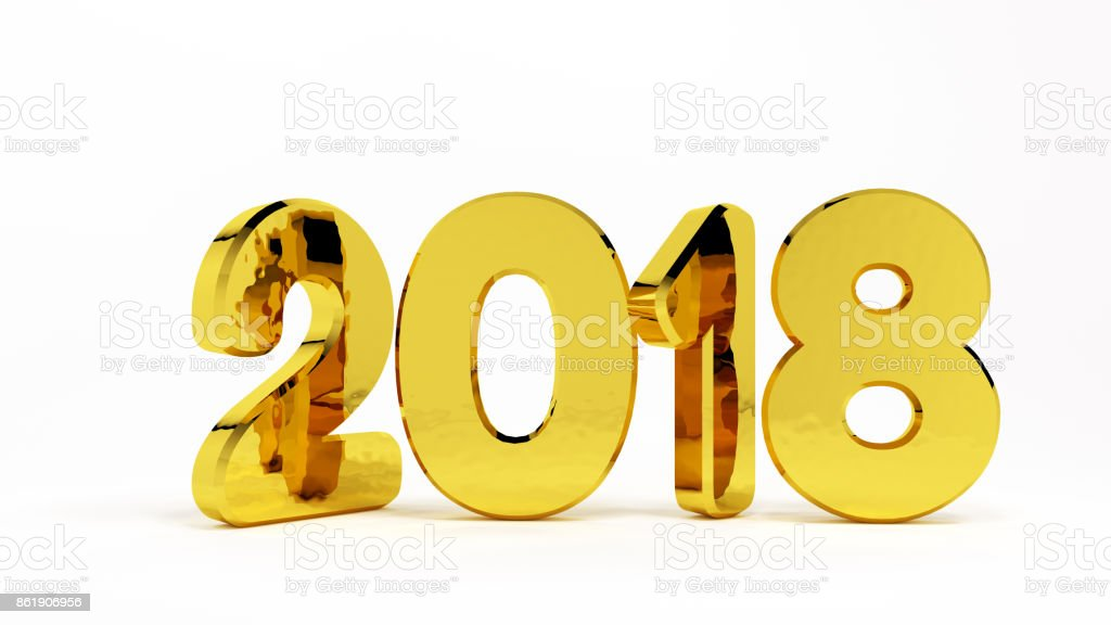 White background golden numbers 2018 stock photo