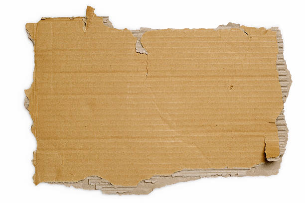 white background with a brown torn piece of cardboard - 厚紙皮 個照片及圖片檔