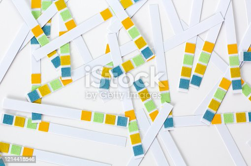 Abstract white background with colored ph paper