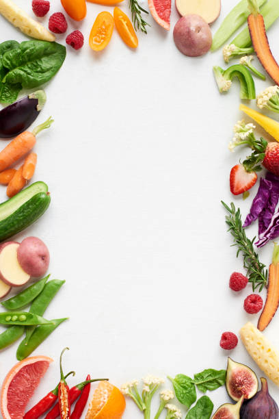 White background with colourful food border of raw fruit and veg