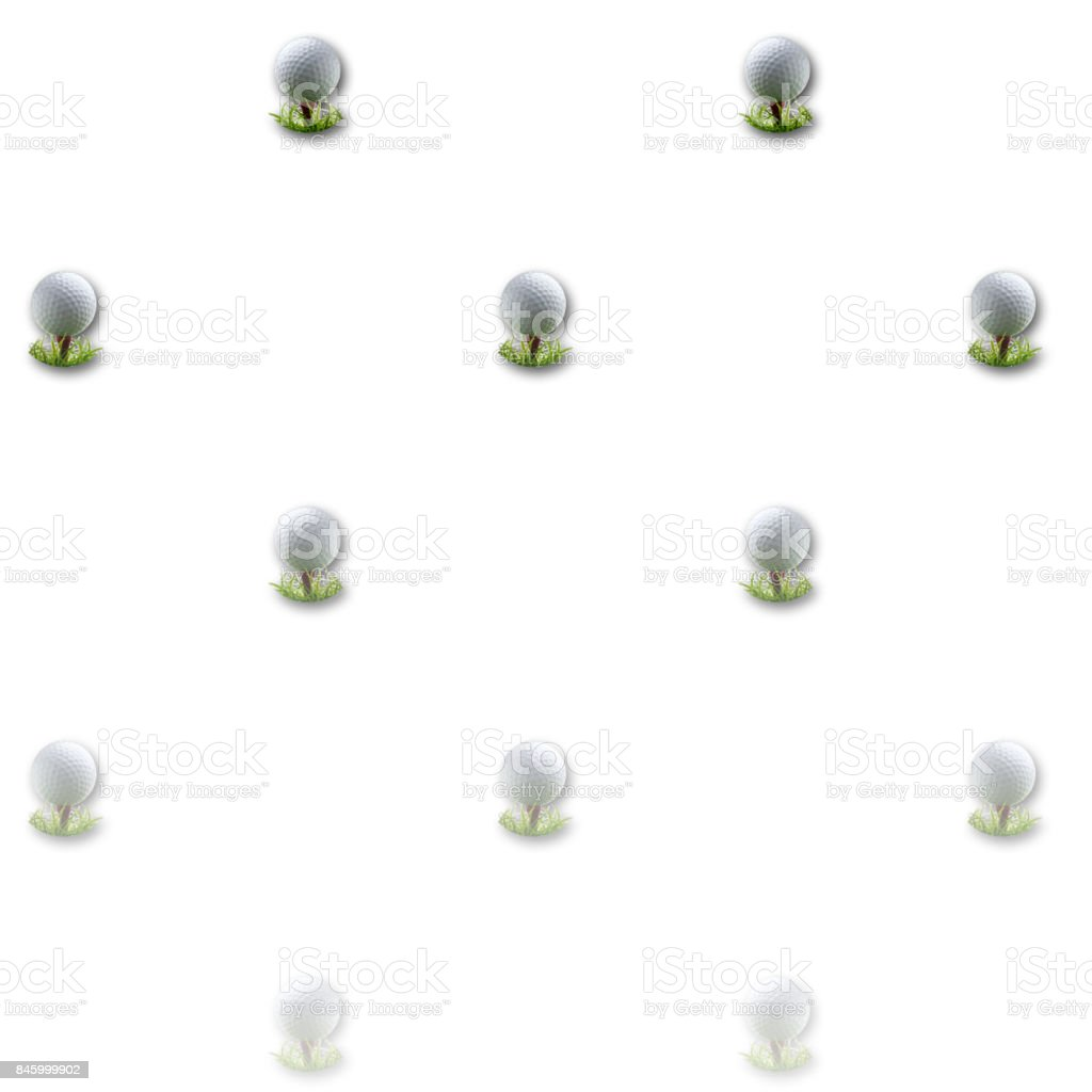 3D, White background, with golfball on tees equally spread. stock photo