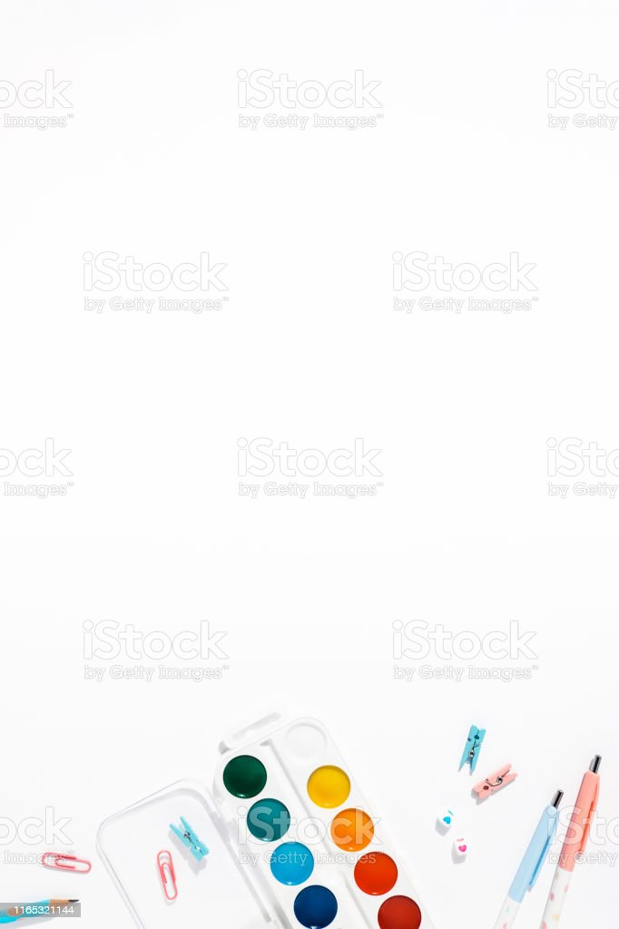 https www istockphoto com photo white background with pens and pencils for school advertising gm1165321144 320611183