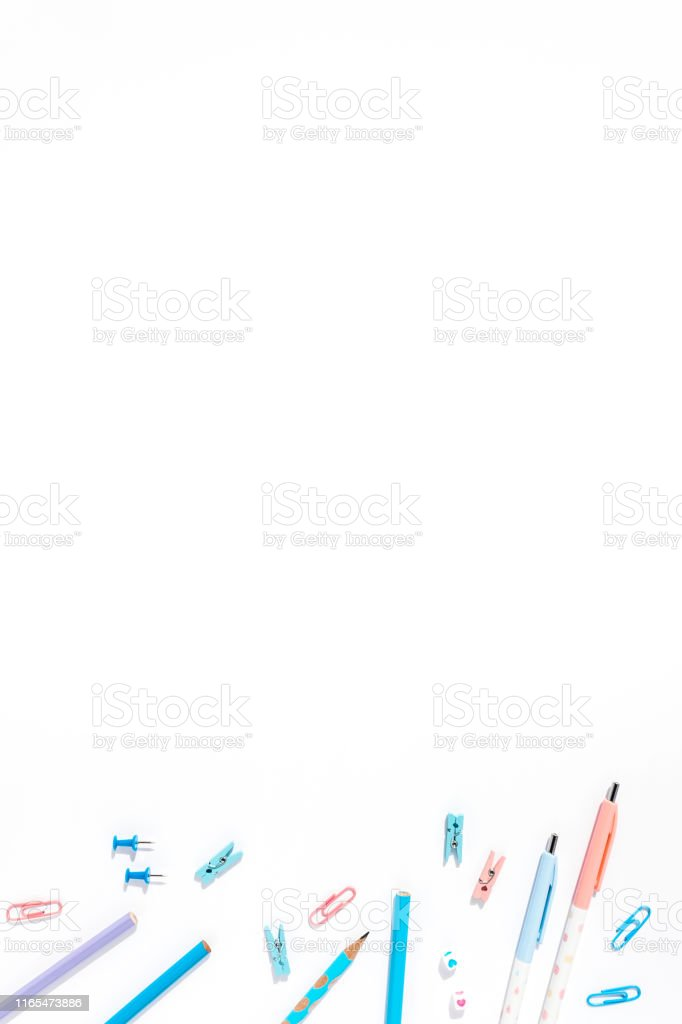 https www istockphoto com photo white background with pens and pencils for school advertising gm1165473886 320707093