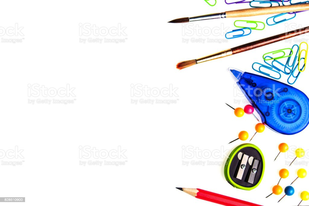 White background with school stationery and empty space for your text stock photo
