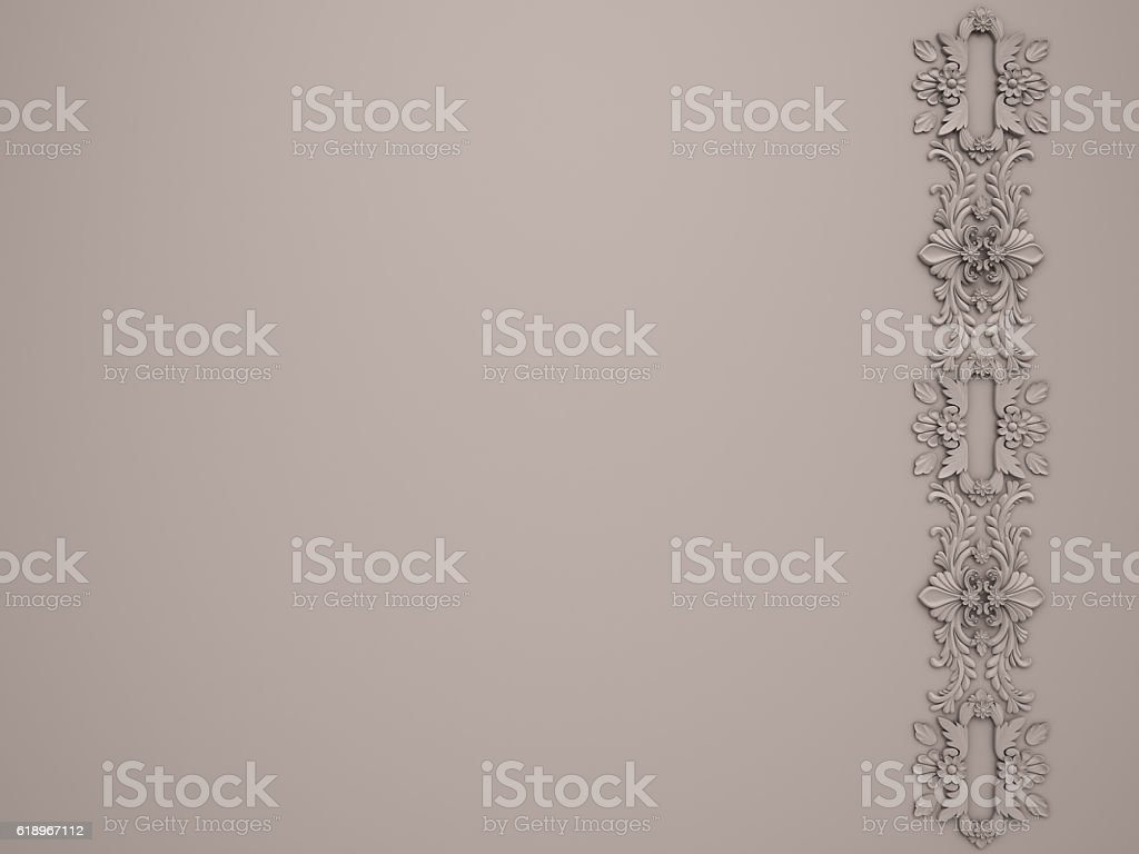White background with white ornament stock photo