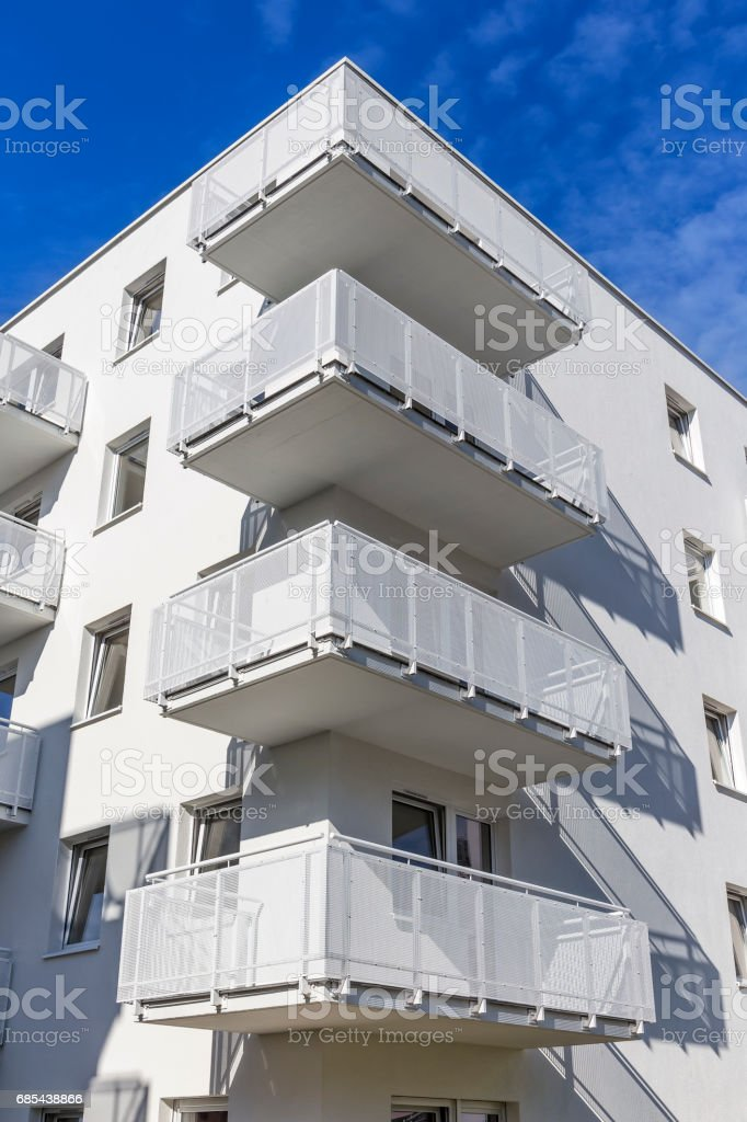 White balconies in modern apartment building foto de stock royalty-free