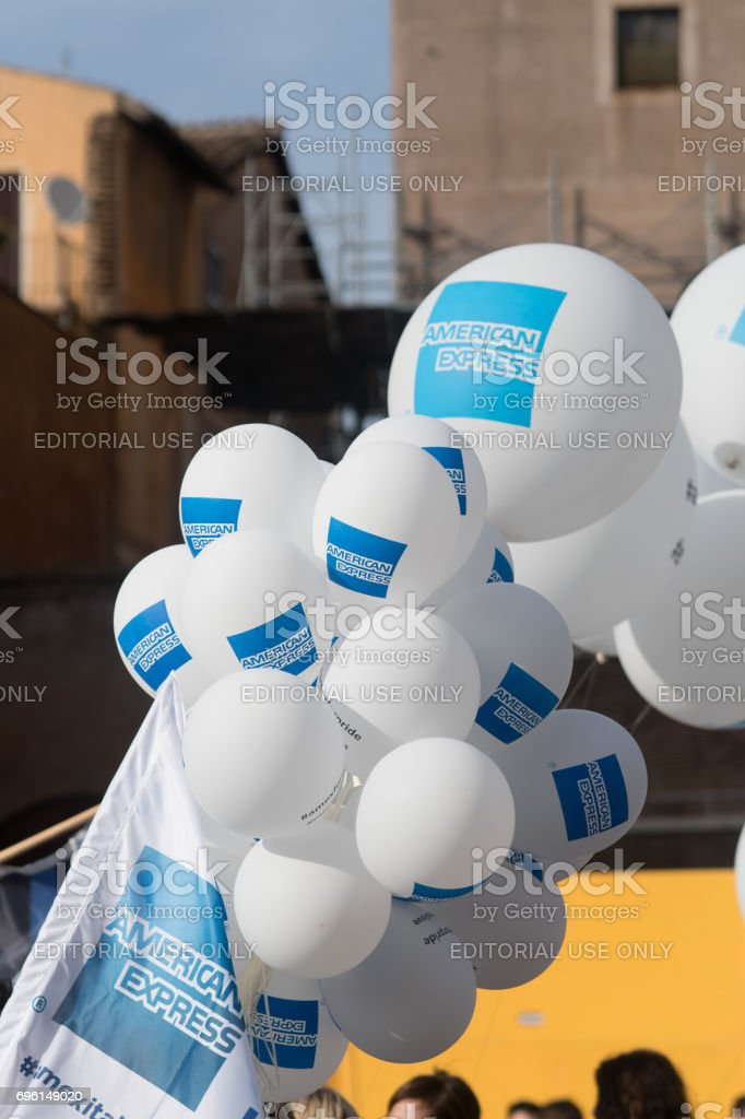White balloons with the logo of American Express stock photo
