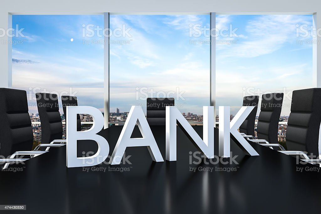 white bank logo standing on office conference desk skyline stock photo