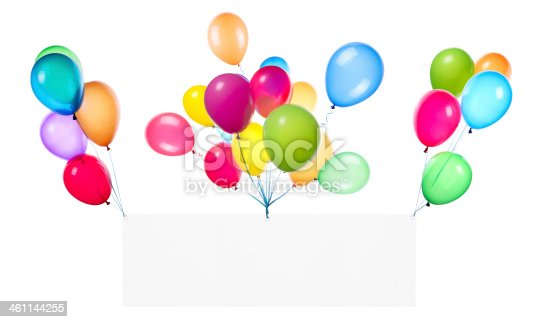 Holiday banners with colorful balloons isolated on white