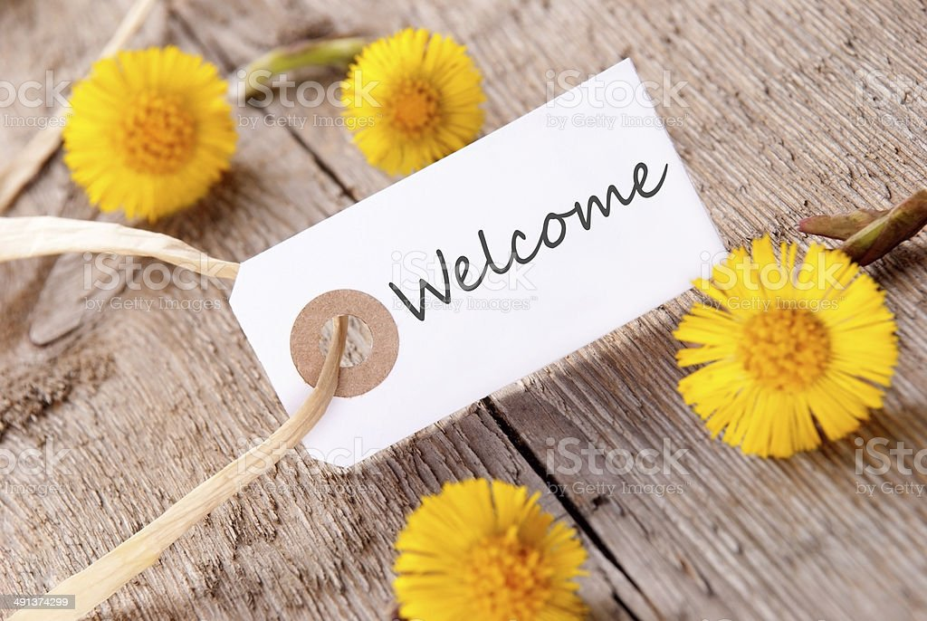 White Banner with Welcome stock photo