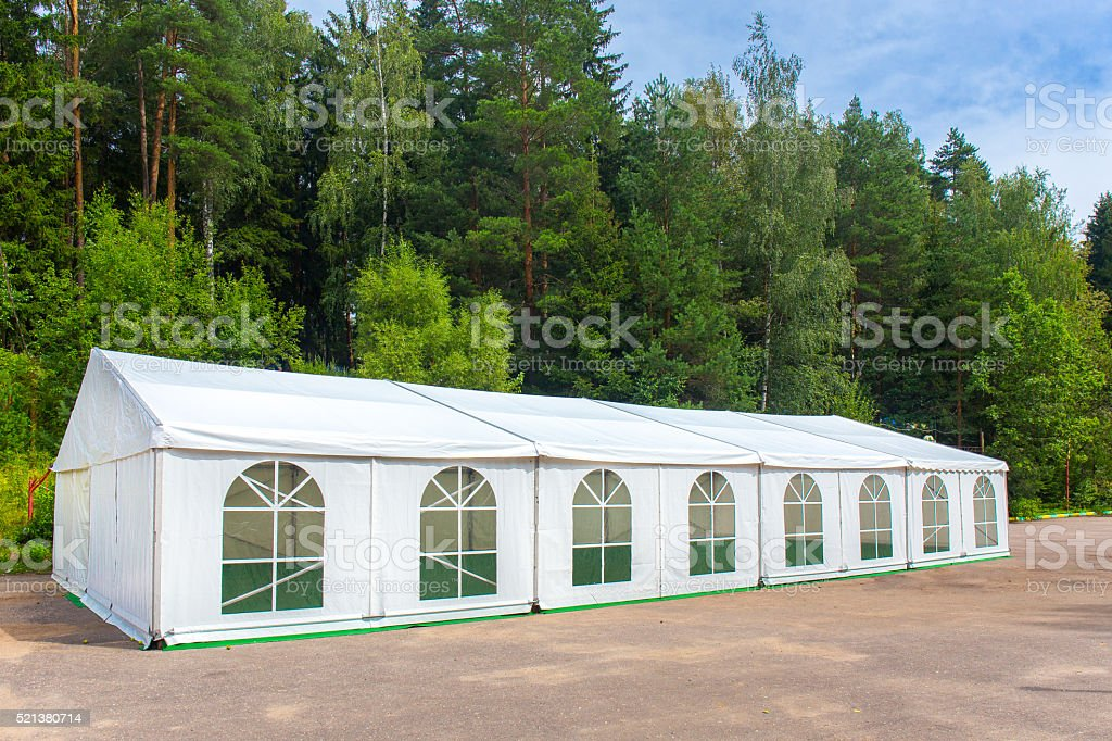 White banquet tent stock photo