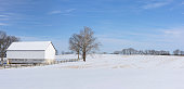 Panoramic scene of historic barn and farm in Antietam National Battlefield park, Maryland.