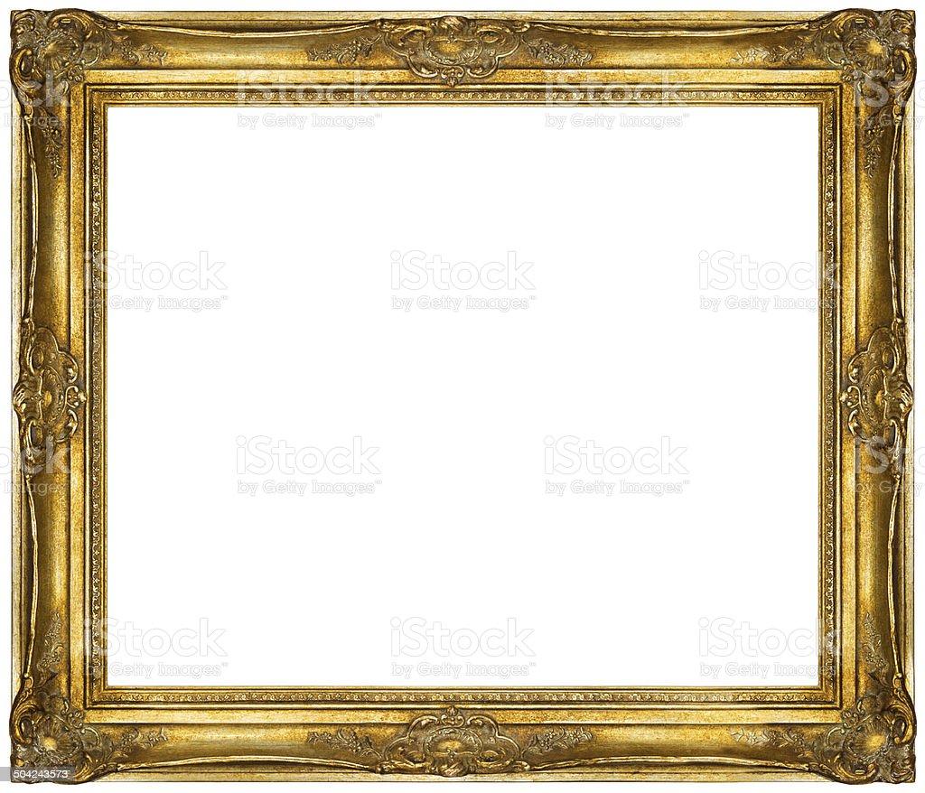 White baroque Frame isolated on white background. stock photo