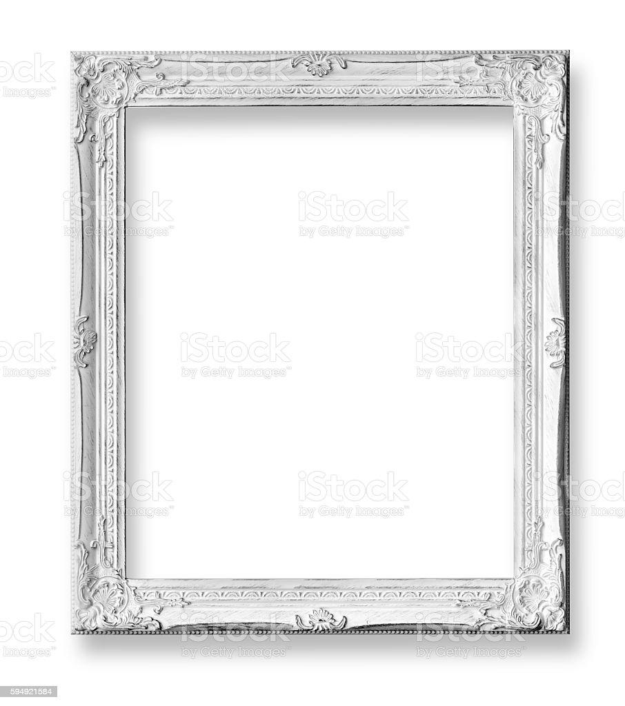 White baroque frame isolated stock photo