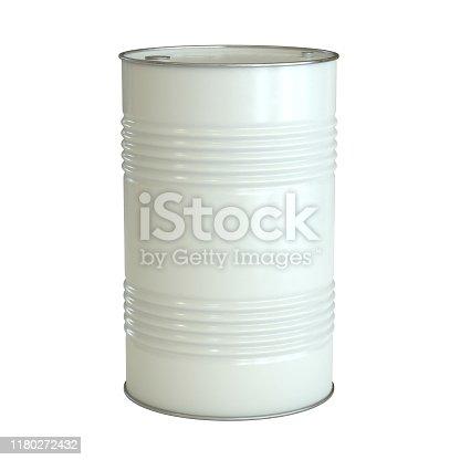 White barrel isolated on the white background 3d rendering illustration