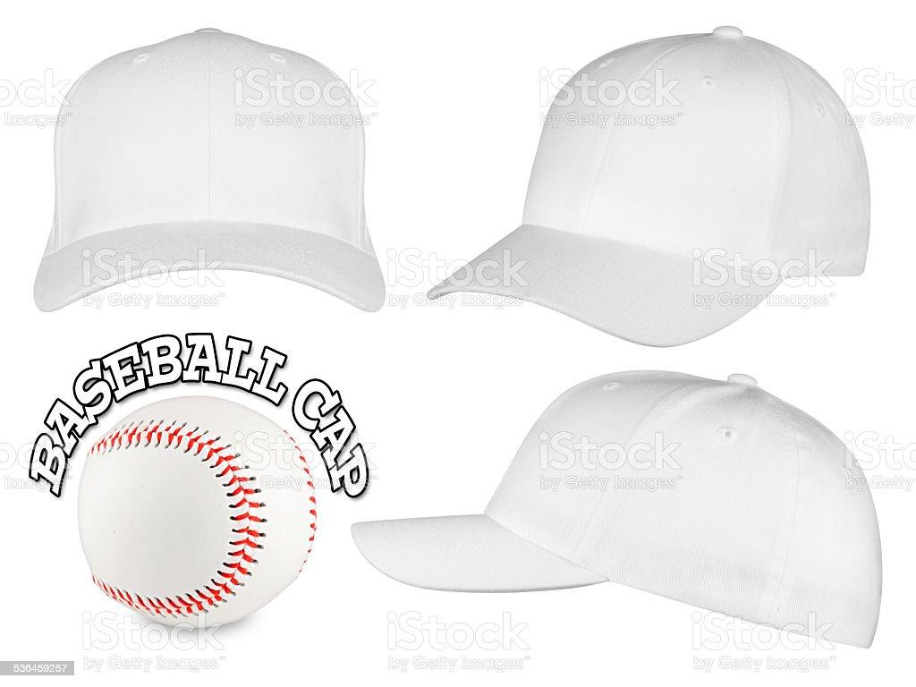 white baseball cap set stock photo