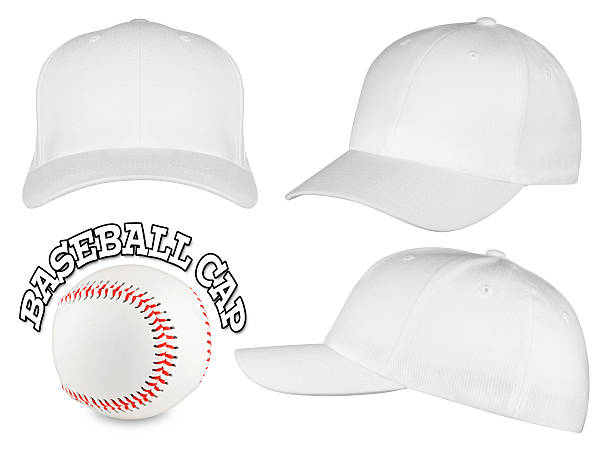 white baseball cap set Set of white baseball caps with baseball baseball cap stock pictures, royalty-free photos & images