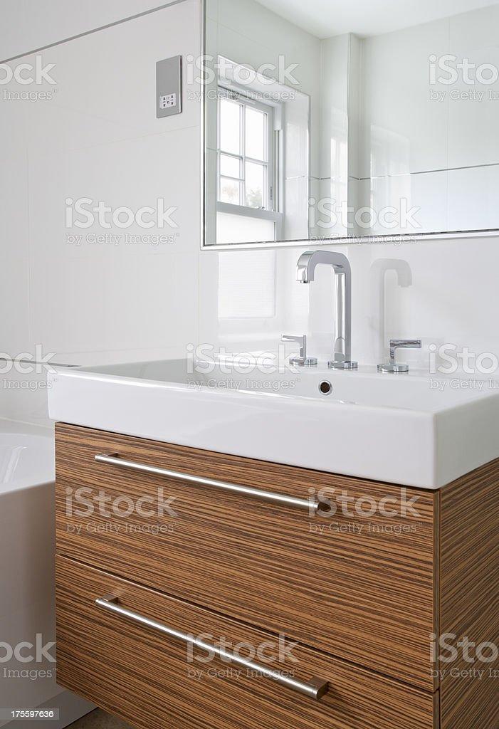 white basin and walnut pedistal royalty-free stock photo
