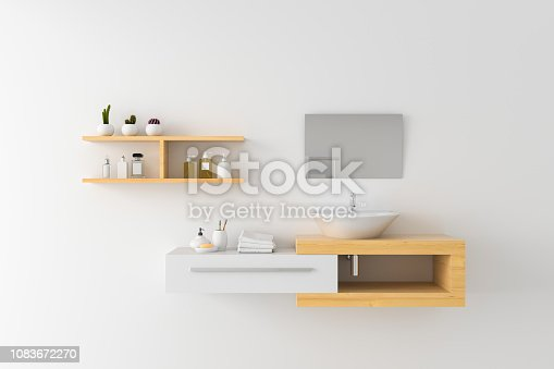 istock White basin on shelf and mirror on wall, 3D rendering 1083672270