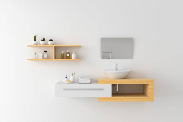 White basin on shelf and mirror on wall, 3D rendering White basin on wooden shelf and mirror on wall, 3D rendering domestic bathroom stock pictures, royalty-free photos & images