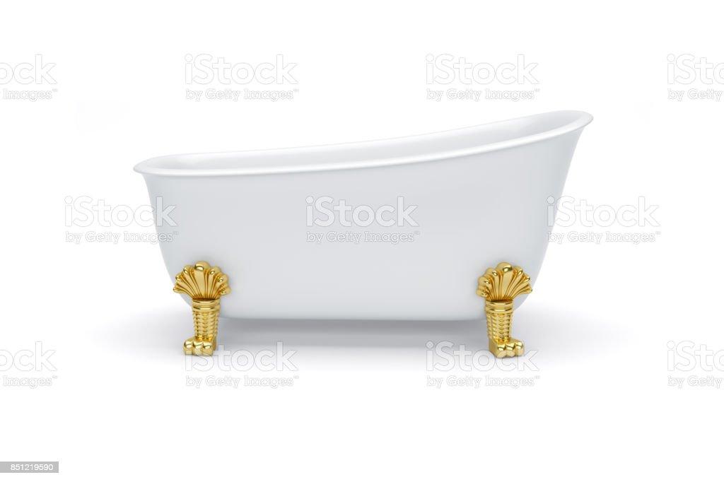 Weiße Bad Auf Goldenen Beinen Vintagestil Isolierte Hintergrund ...