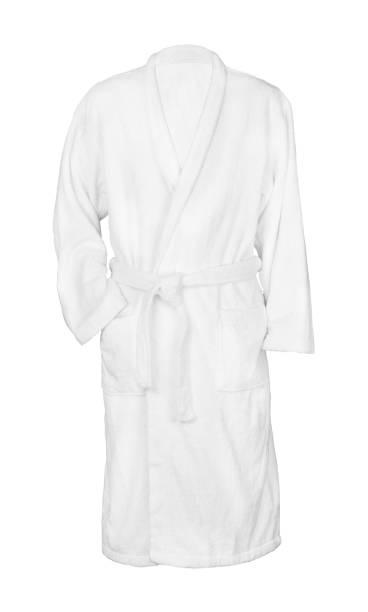 white bathrobe bathrobe - accappatoio foto e immagini stock