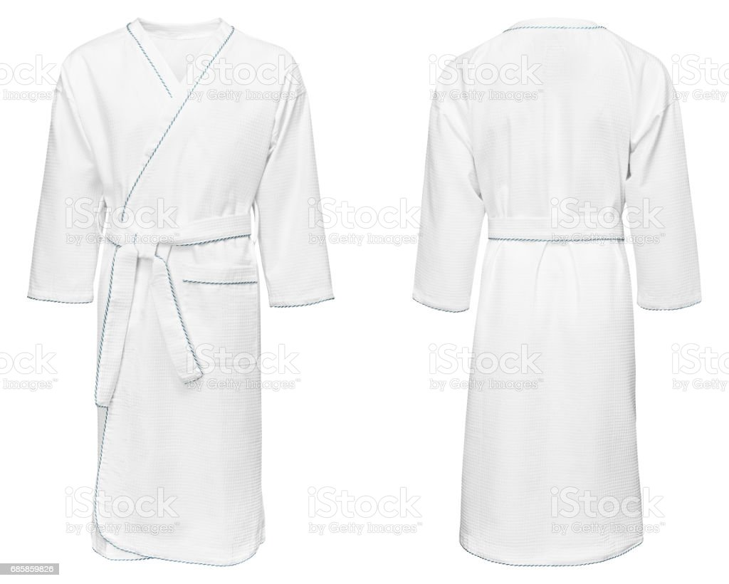 white bathrobe for home, isolated on white background - foto stock