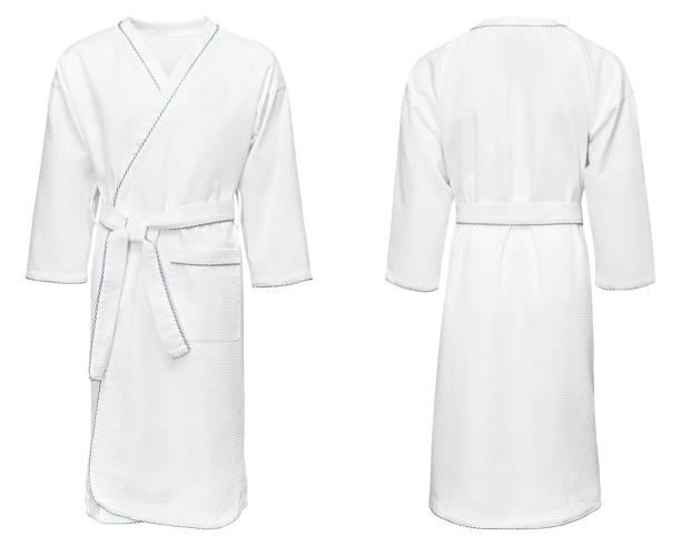 white bathrobe for home, isolated on white background - accappatoio foto e immagini stock