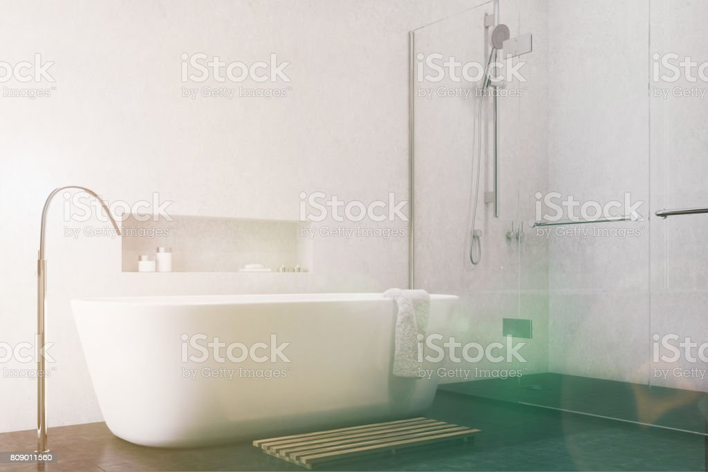 Weiße Badezimmer Schwarzer Boden Ecke Getönt Stockfoto und ...