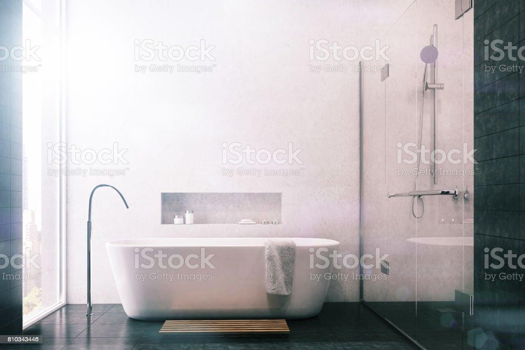 Weiße Badezimmer Schwarze Fliesen Dusche Getönt Stockfoto ...