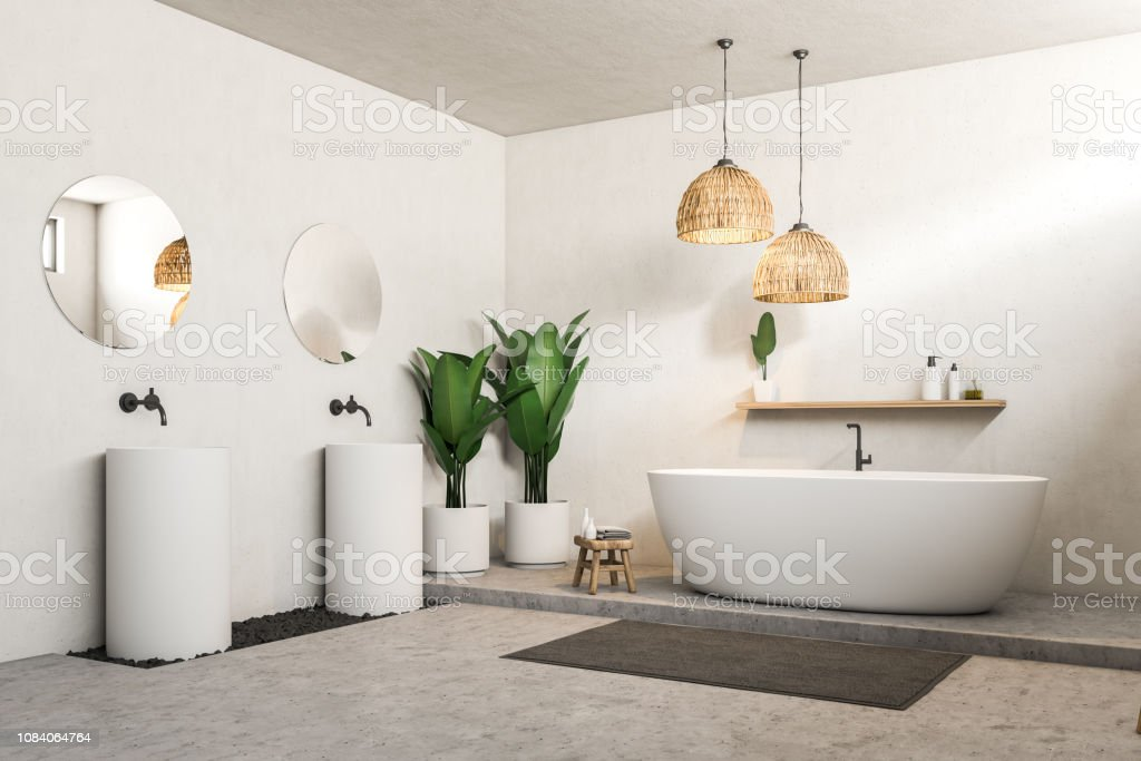 White bathroom, double sink and tub side view stock photo
