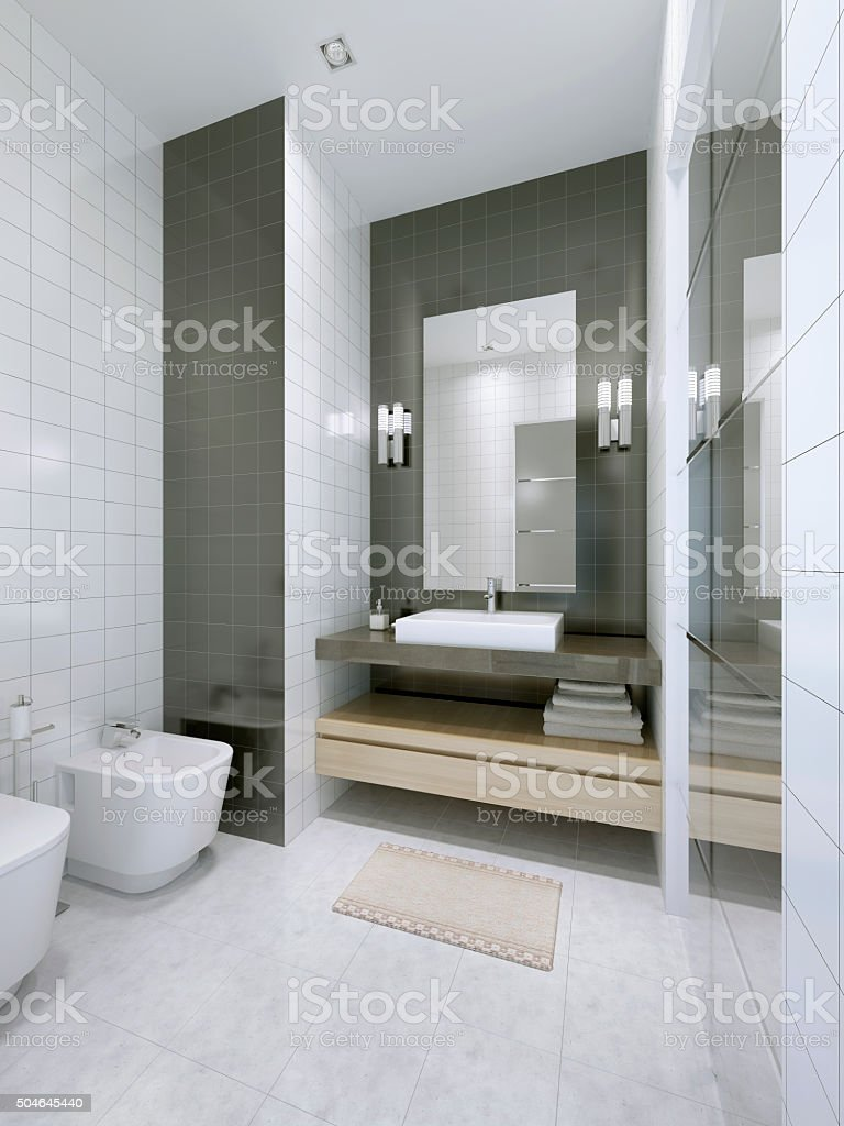 White bathroom in hotel apartments stock photo