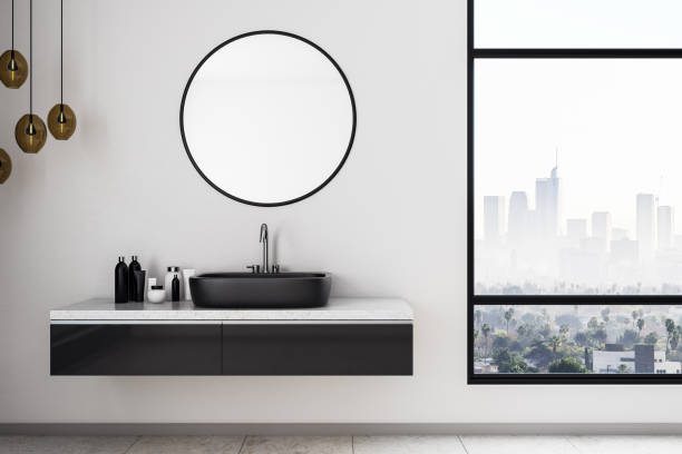 White bathroom interior White bathroom interior with city view, sink and other objects. Mock up, 3D Rendering domestic bathroom stock pictures, royalty-free photos & images