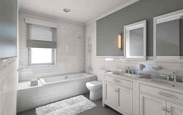 banheiro branco - banheiro instalação doméstica - fotografias e filmes do acervo
