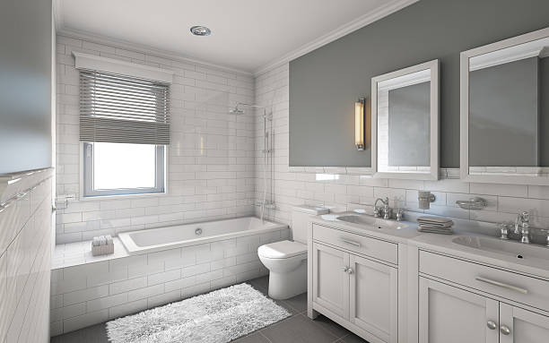 White Bathroom White Bathroom in Country House household fixture stock pictures, royalty-free photos & images