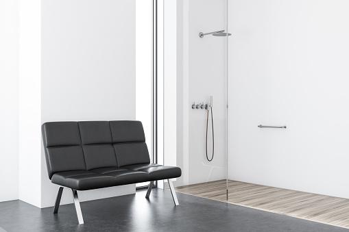 백색 샤워와 화장실 벤치 0명에 대한 스톡 사진 및 기타 이미지