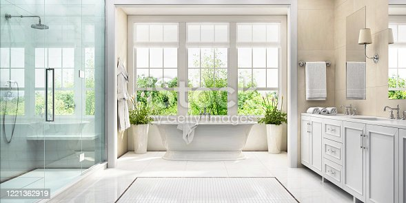 Large white bathroom with bath, large window, shower and two washbasins
