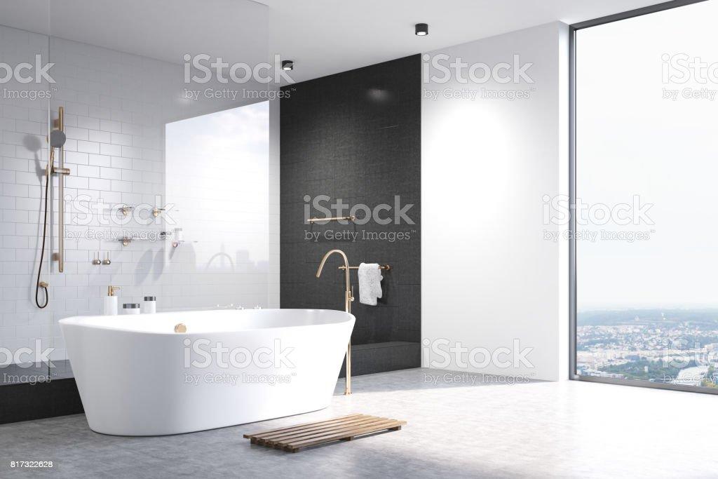 Weißes Badezimmer mit schwarzen Fliesen-Ecke – Foto