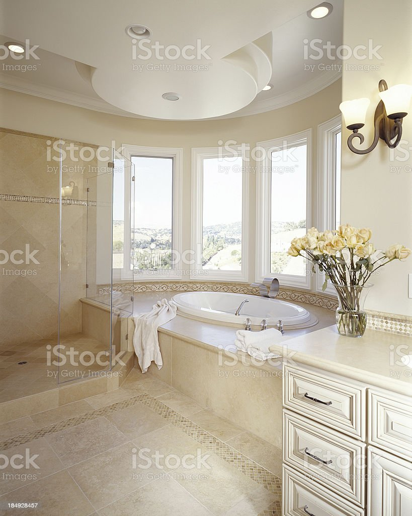 White Bathroom with Large Tub royalty-free stock photo