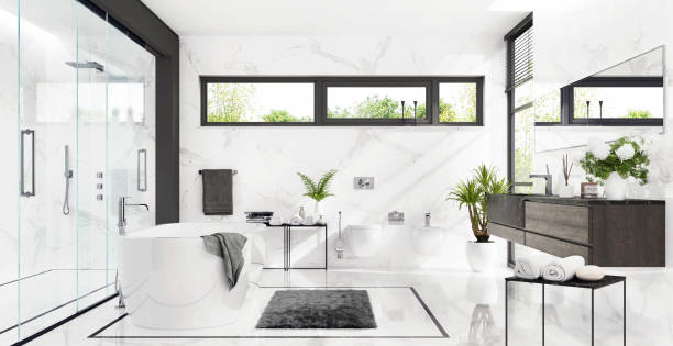 White bathroom with shower and bathtub Luxurious white marble bathroom with shower and bathtub white marble stock pictures, royalty-free photos & images